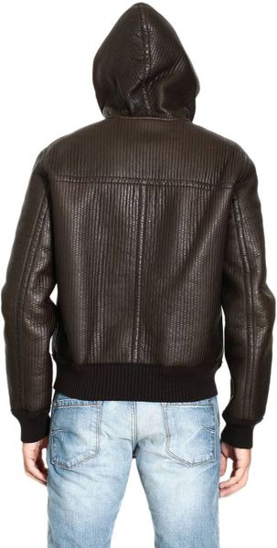 Fendi Down Jacket Leather Jacket with Webbing Hooded in
