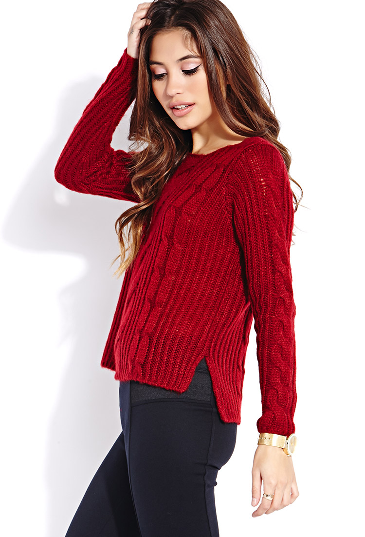Forever 21 Fuzzy Cable Knit Sweater in Red | Lyst