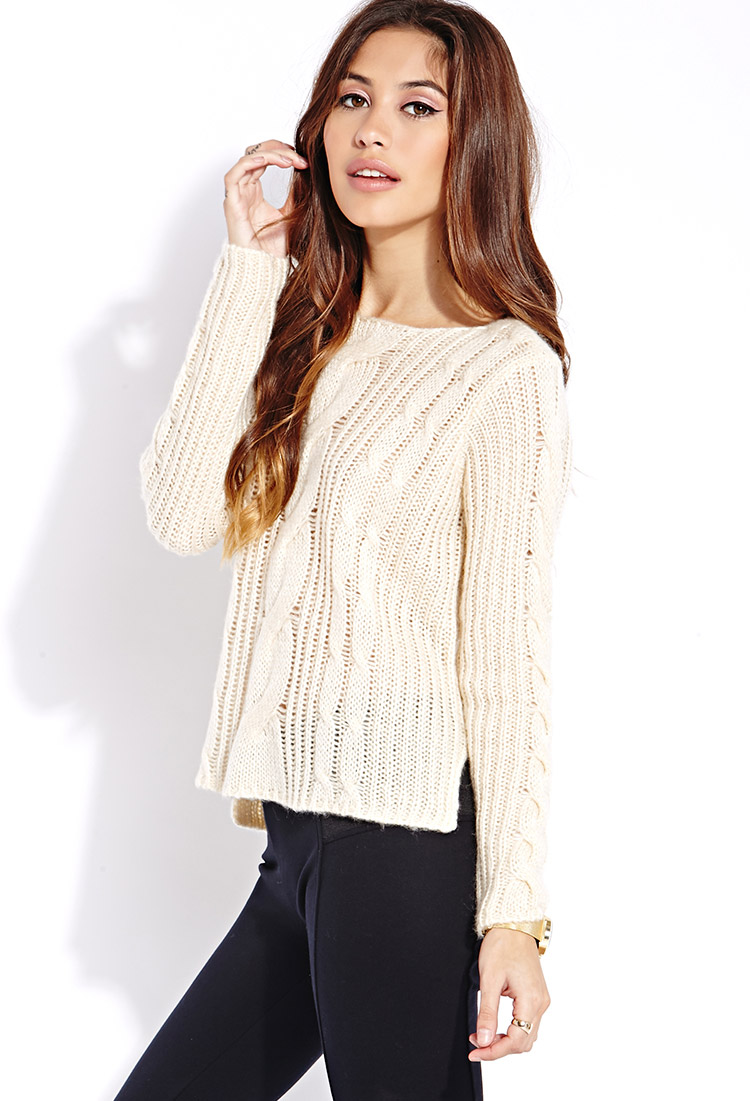 Forever 21 Fuzzy Cable Knit Sweater in Natural | Lyst