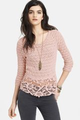 Free People Tie Back Mixed Media Top - Lyst