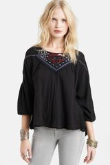 Free People Santa Fe Embroidered Peasant Top - Lyst