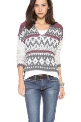 Free People Hooded Fair Isle Pullover - Lyst