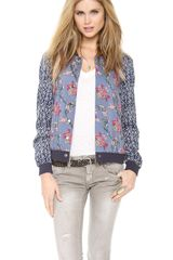 Free People Floral Print Baseball Jacket - Lyst