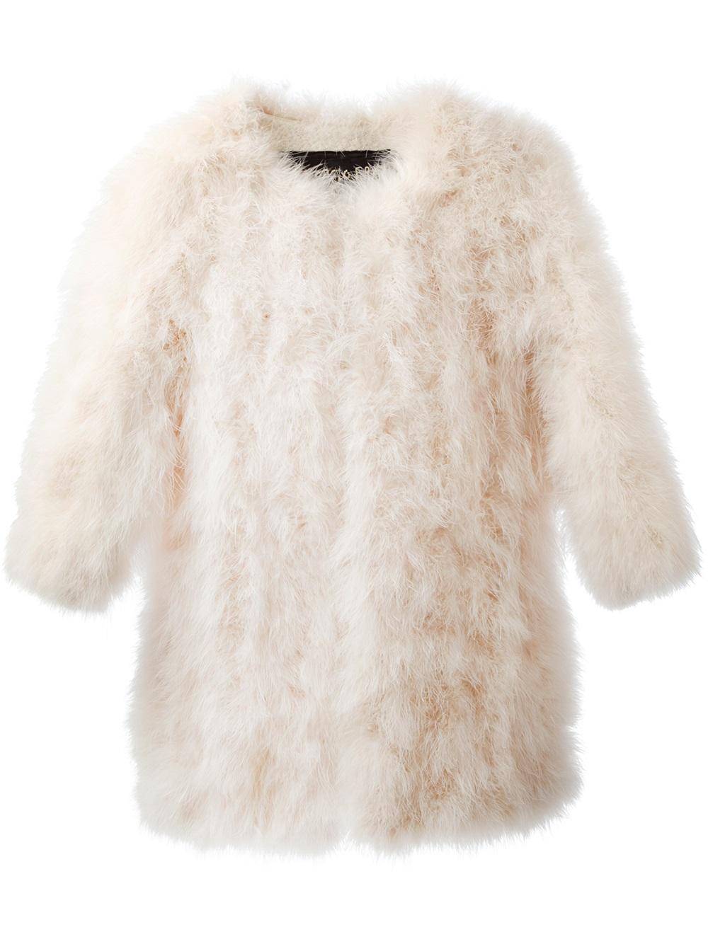Lyst Giorgio Brato Fluffy Coat In White