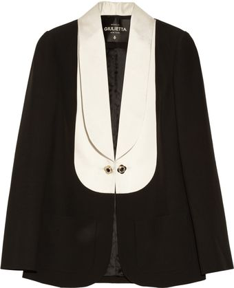 Giulietta Crepe and Silk-blend Satin Tuxedo Jacket - Lyst