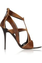 Giuseppe Zanotti Cut-Out Calf Hair Sandals - Lyst