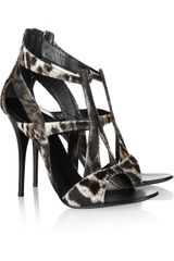 Giuseppe Zanotti Cut-Out Animal-Print Calf Hair Sandals - Lyst