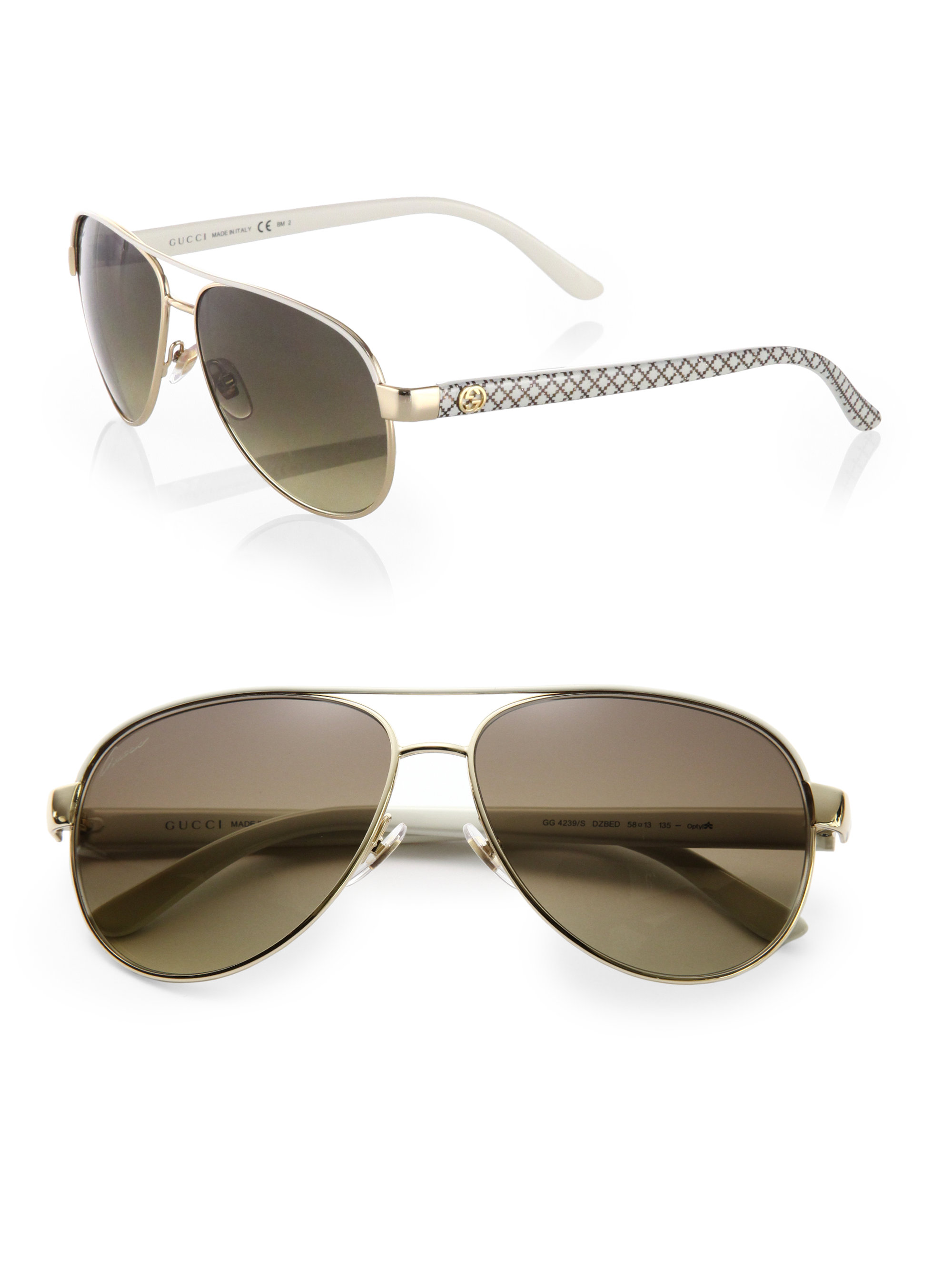 d75d02acd9 Gucci Metal Aviator Glitter Sunglasses in Gray (IVORY)