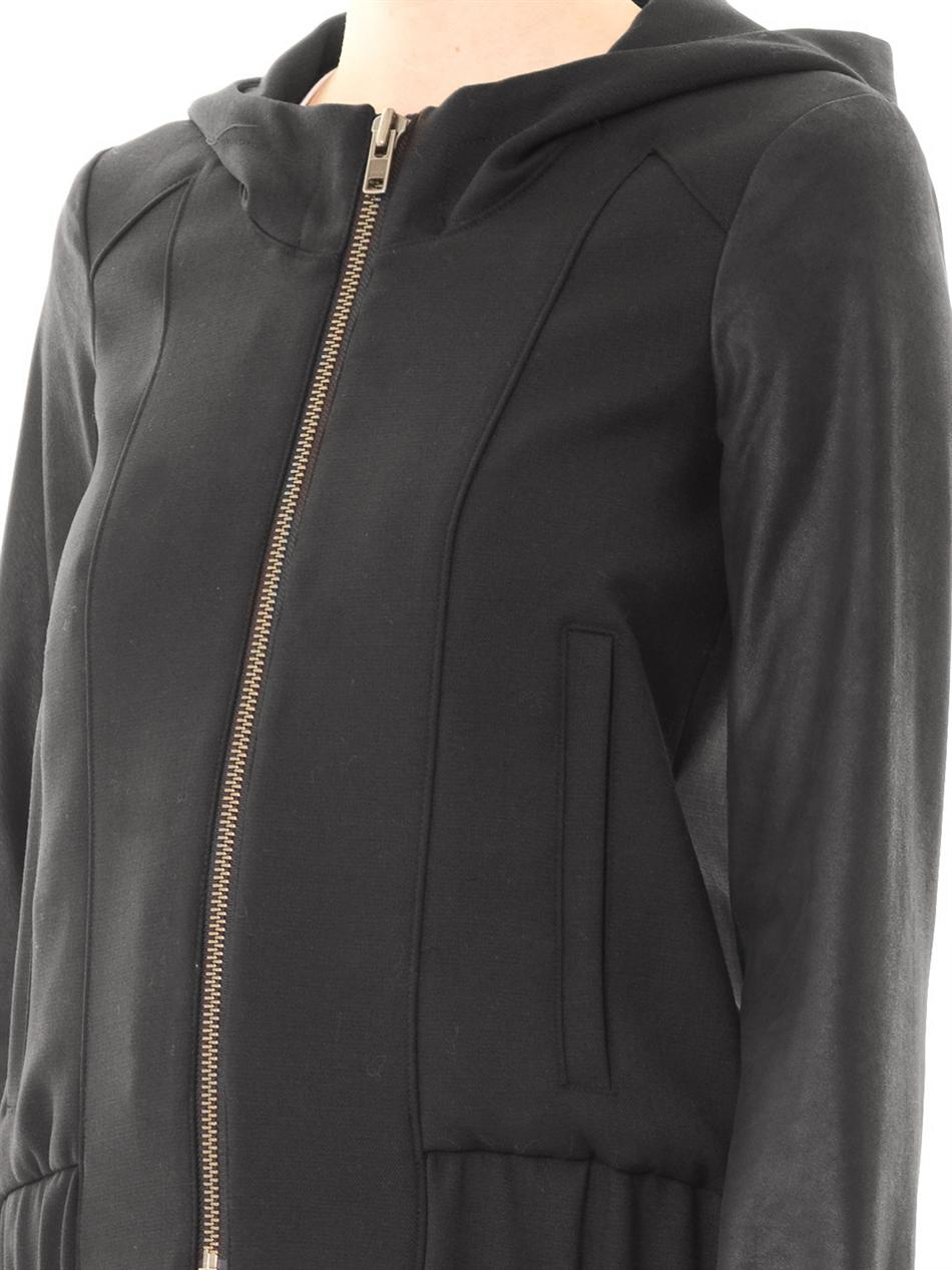 River Island Leather Hooded Jacket Taupe