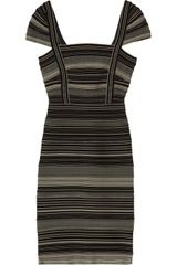 Hervé Léger Striped Bandage Dress - Lyst