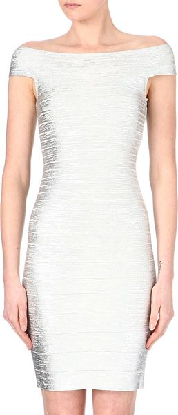 Hervé Léger Boat Neck Bandage Dress - Lyst