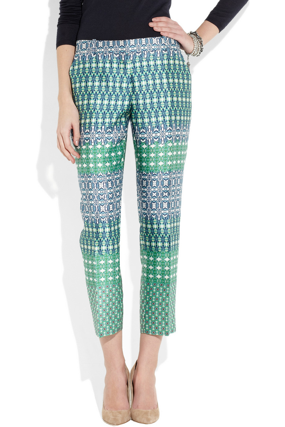 J.crew Café Printed Wool and Silk Blend Capri Pants | Lyst