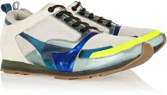 Jil Sander Metallic Leather-Paneled Mesh Sneakers - Lyst