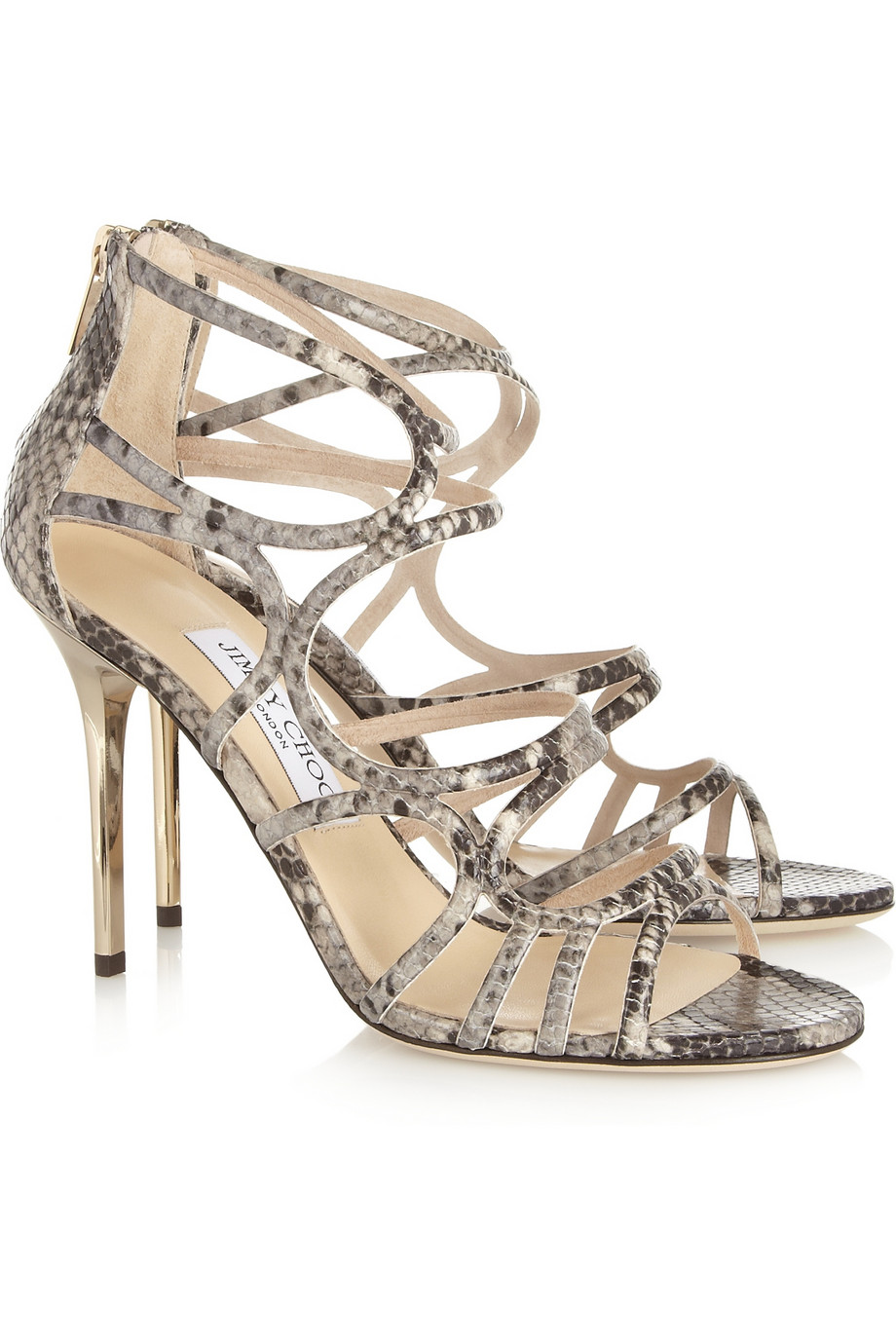 e3ab36fe723a Lyst - Jimmy Choo Snake effect Leather Sandals