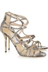 Jimmy Choo Snake effect Leather Sandals - Lyst
