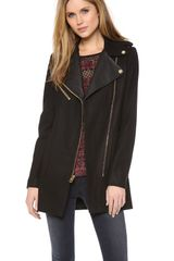 Juicy Couture Wool Melton Moto Coat - Lyst