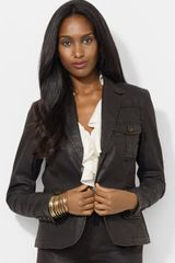 Lauren by Ralph Lauren Coated Two button Denim Blazer - Lyst