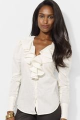 Lauren by Ralph Lauren Ruffled V Neck Cotton Blouse - Lyst