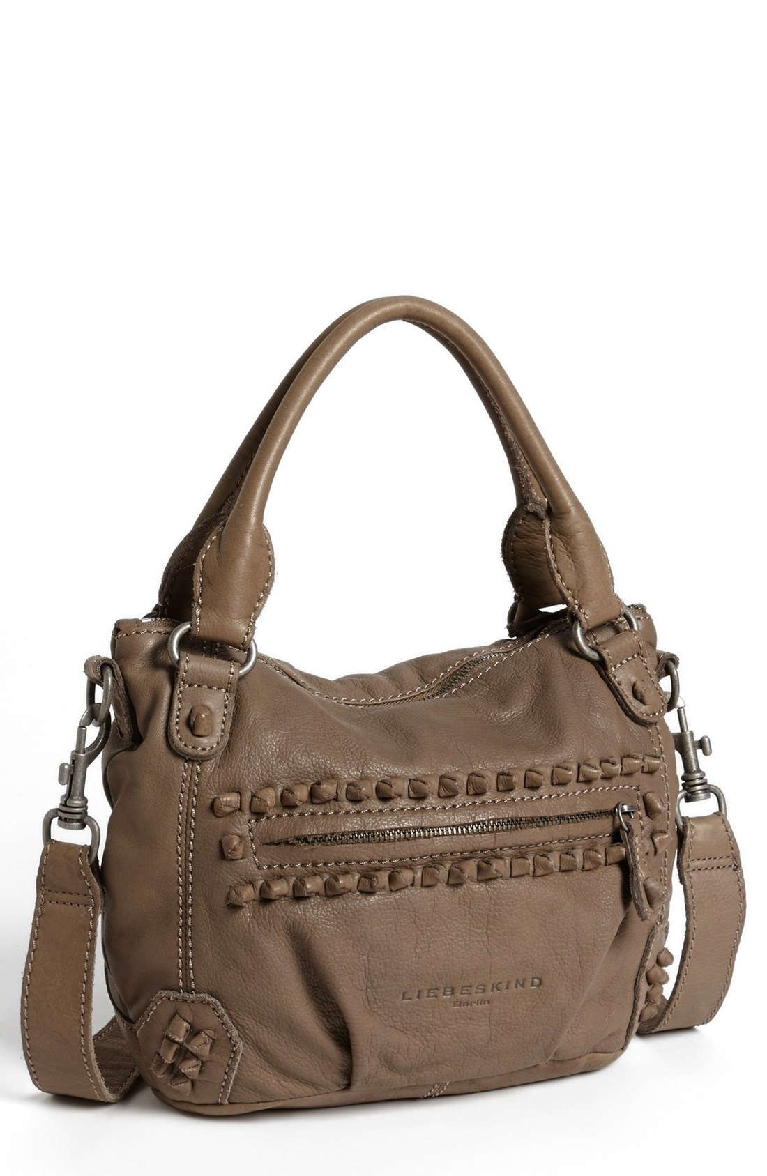 liebeskind vintage knot gina leather satchel in brown new. Black Bedroom Furniture Sets. Home Design Ideas