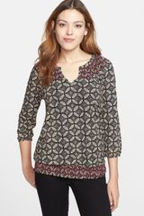 Lucky Brand Geo Print Smocked Top - Lyst