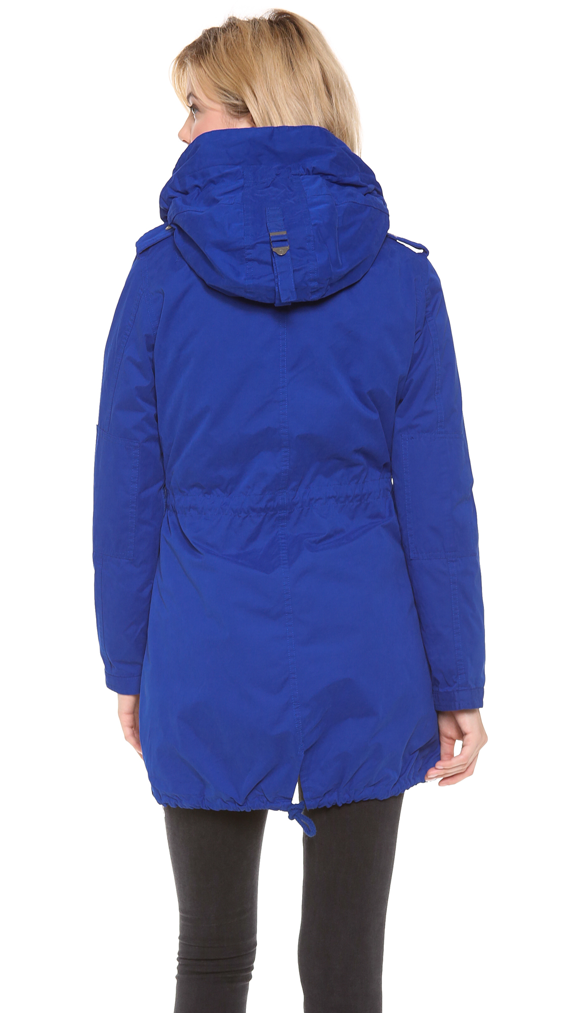 maison scotch parka with removable inner layer in blue lyst. Black Bedroom Furniture Sets. Home Design Ideas