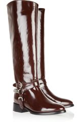 McQ by Alexander McQueen Glossed-Leather Riding Boots - Lyst