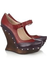 McQ by Alexander McQueen Studded Leather and Wood Wedge Pumps - Lyst