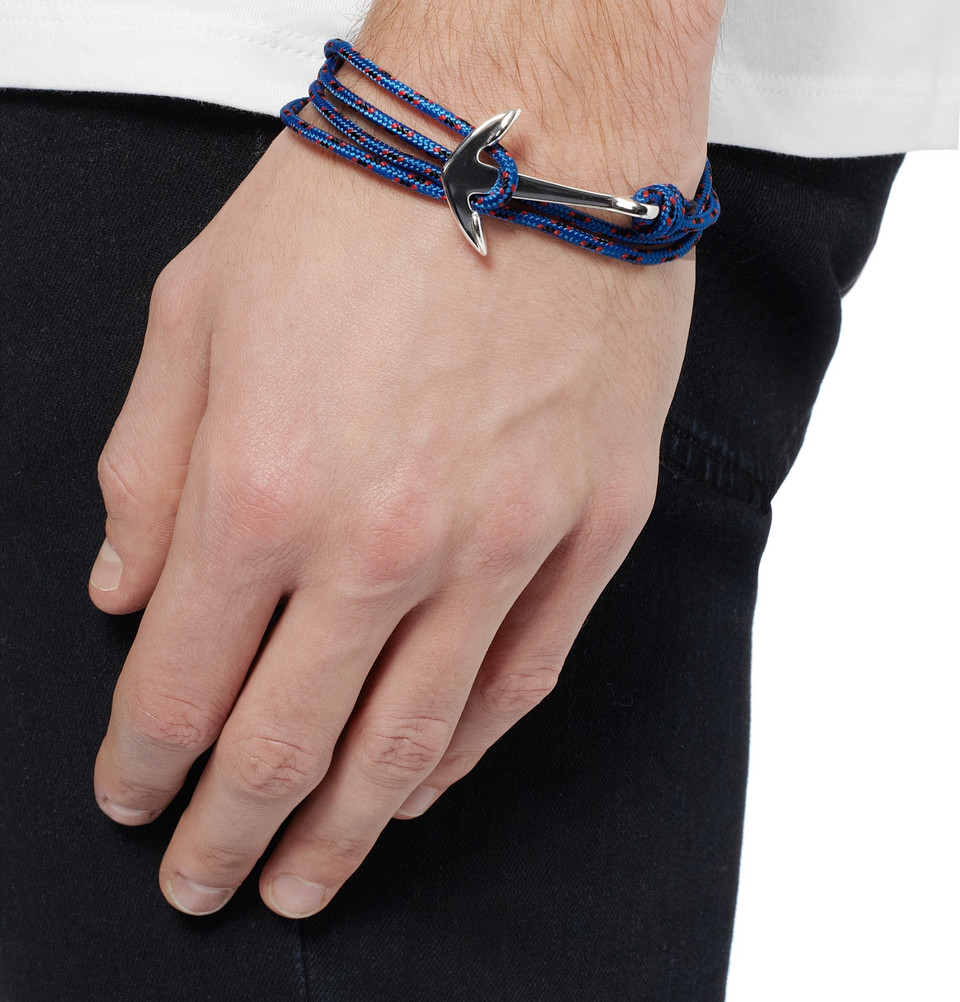 Lyst Miansai Rope And Silver Plated Anchor Bracelet In