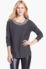 Michael by Michael Kors Embellished Neck Sweater - Lyst