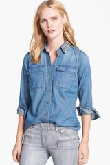 Michael by Michael Kors Embellished Denim Shirt - Lyst