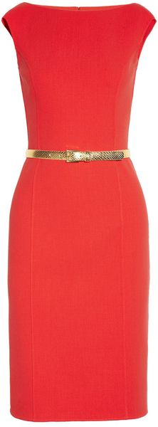 Michael Kors Belted Stretchcrepe Dress - Lyst