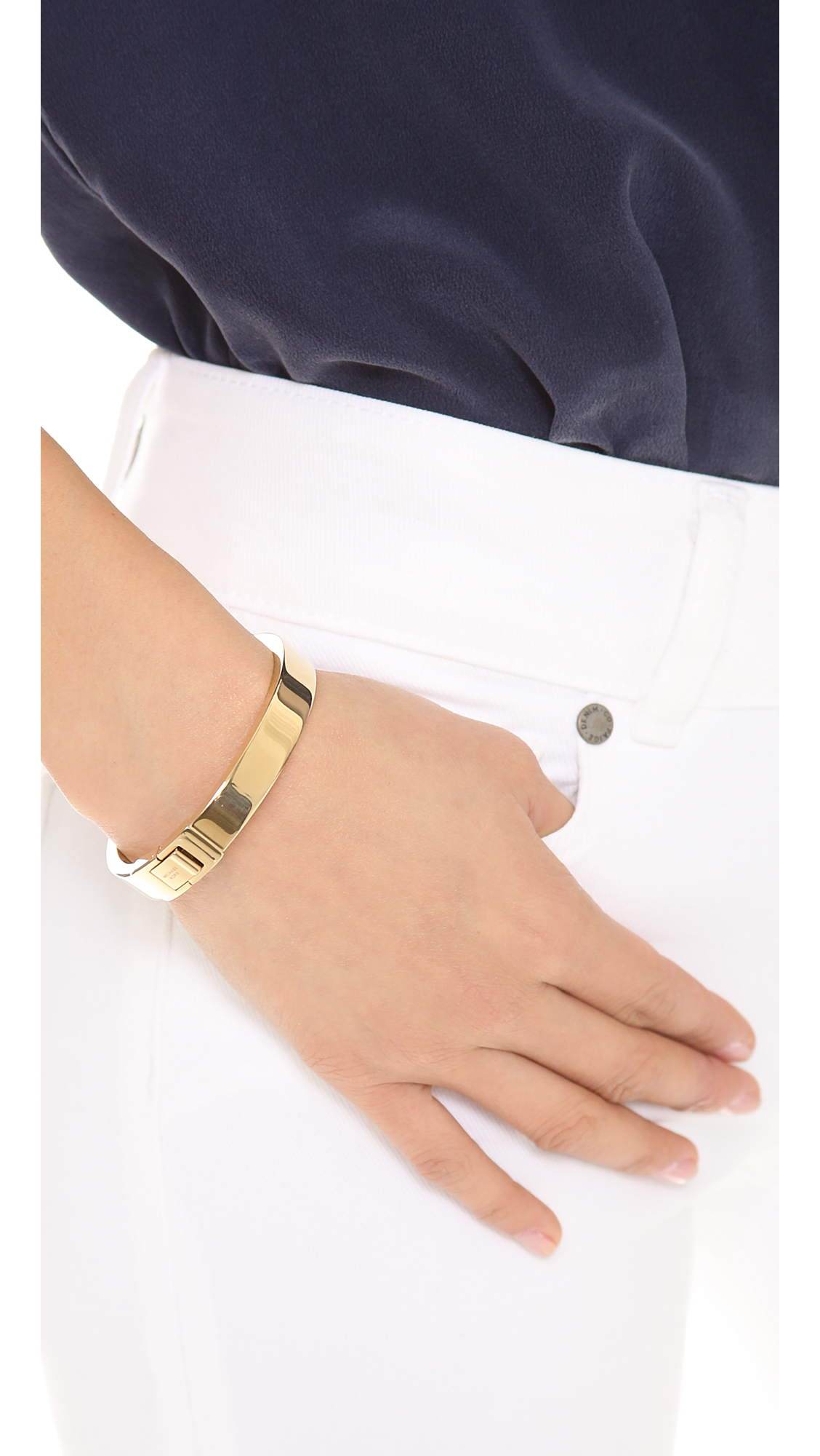 michael hinged metallic gallery kors bracelet gold bangles lyst product jewelry in bangle