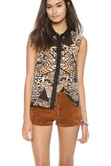 Mink Pink Jungle Jamboree Sleeveless Shirt - Lyst