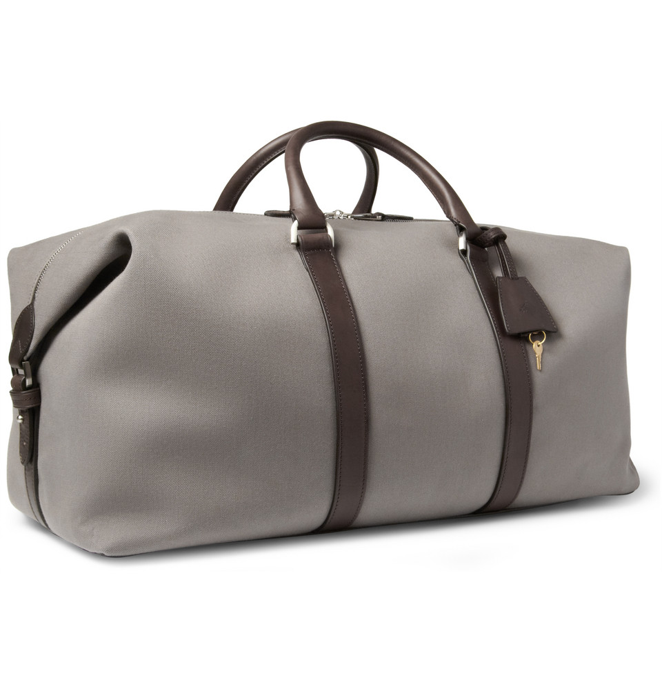 4b33ca2a98 Lyst - Mulberry Clipper Leathertrimmed Canvas Holdall Bag in Gray for Men