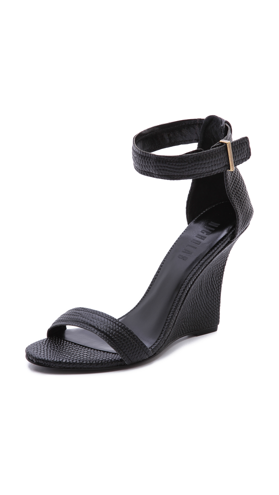 Lyst - Nicholas Lotus Ankle Strap Wedges in Black