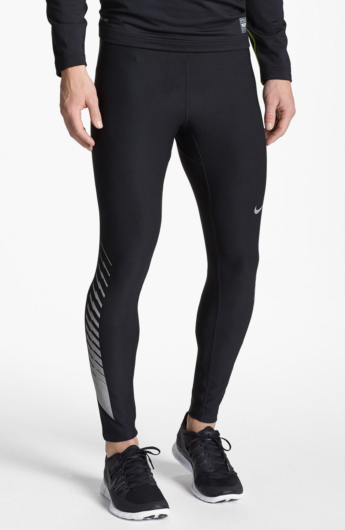 Nike Drifit Running Tights in Black for Men (Black ...