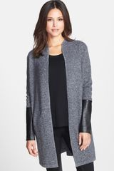 Nordstrom Collection Leather Sleeve Long Cashmere Cardigan - Lyst