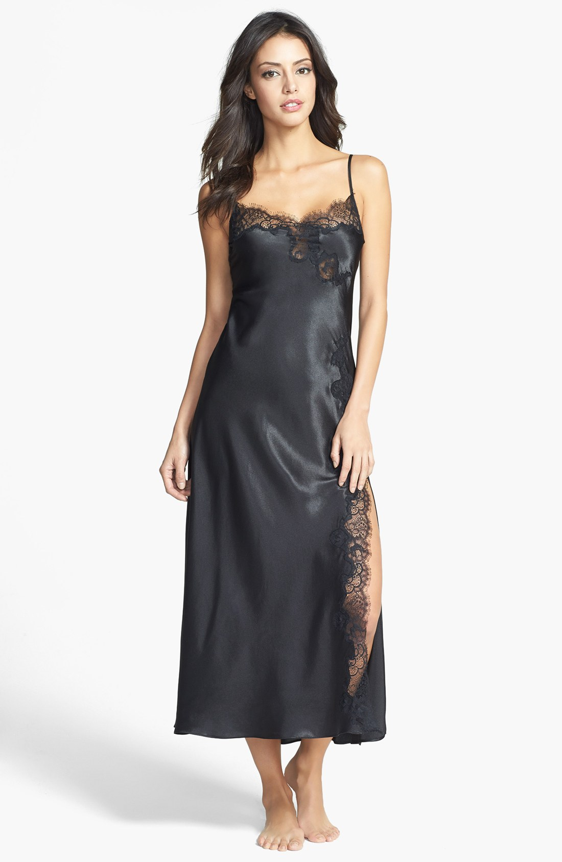 Black Silk Nightgowns for Women Nightwear for women doesn't get much more luxurious than a long, black, silk nightgown until, of course, you consider the silk chemise. Silk elegantly drapes your body and surrounds you in luxury as you lounge and sleep.