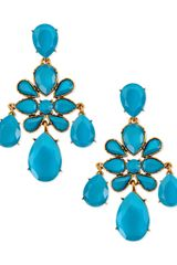 Oscar de la Renta Faceted Chandelier Clipon Earrings Turquoise - Lyst