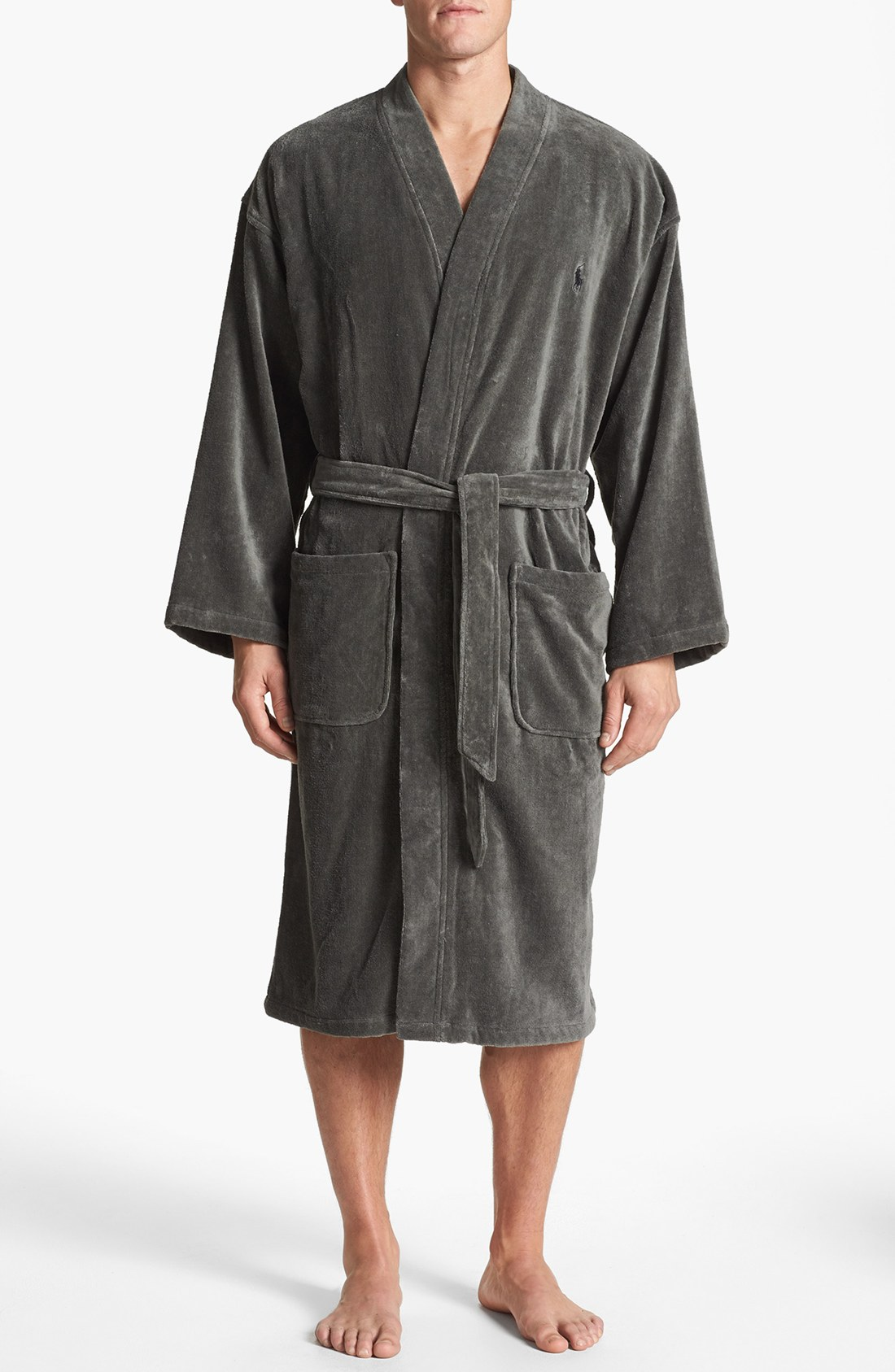 polo ralph lauren velour kimono robe in black for men smokey black lyst. Black Bedroom Furniture Sets. Home Design Ideas