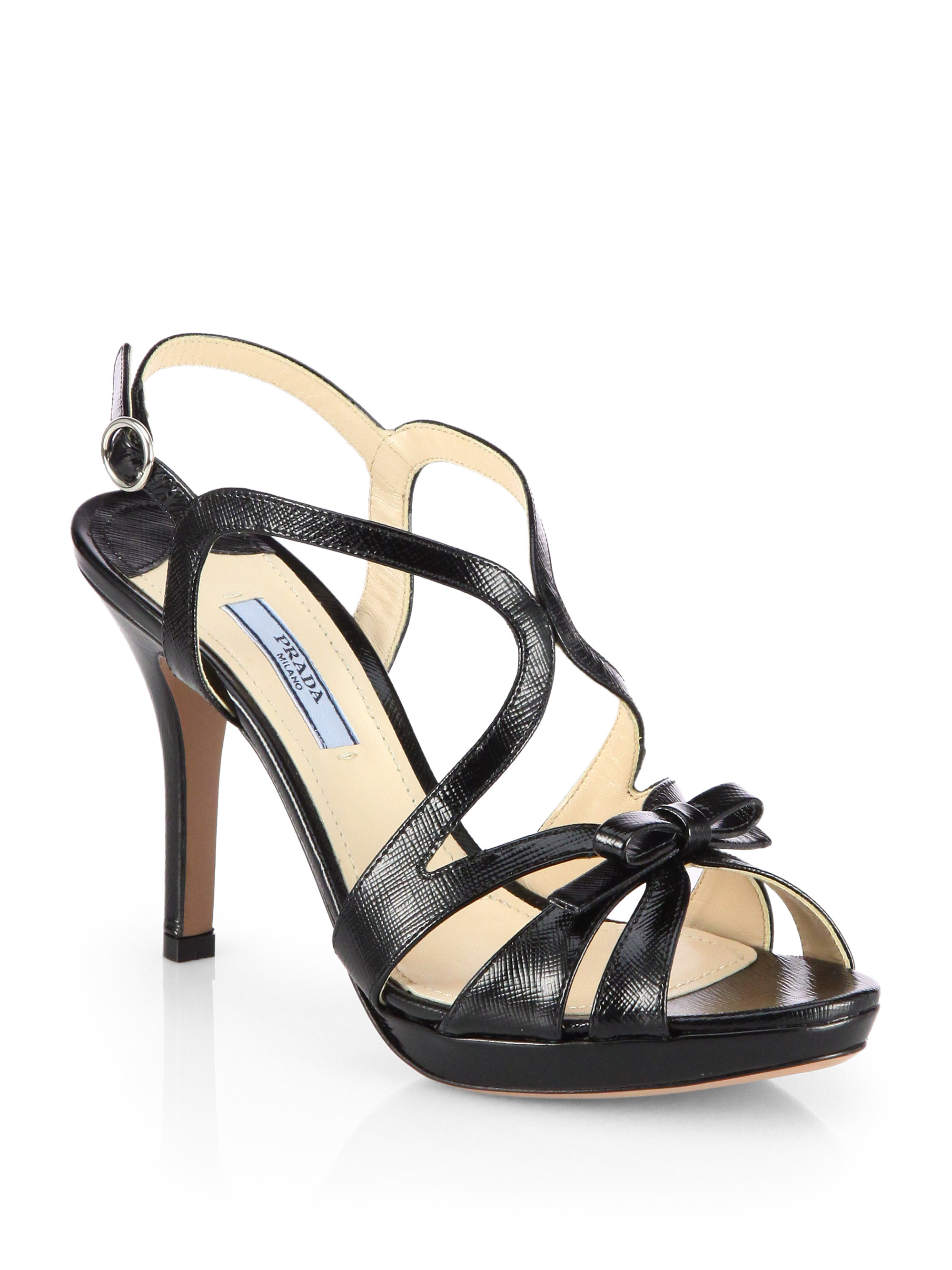 Lyst Prada Patent Leather Crisscross Bow Sandals In Black