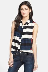 Rag & Bone Tent Mixed Stripe Collared Tank - Lyst