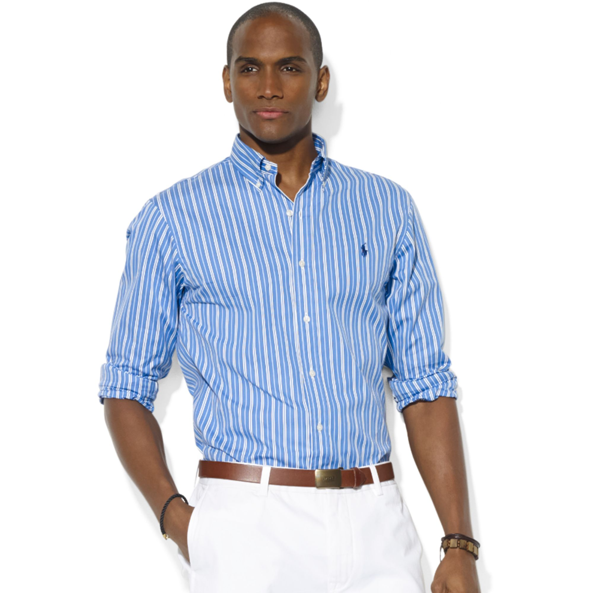 552f56d74 Polo Ralph Lauren Mens Linen Striped Shirt