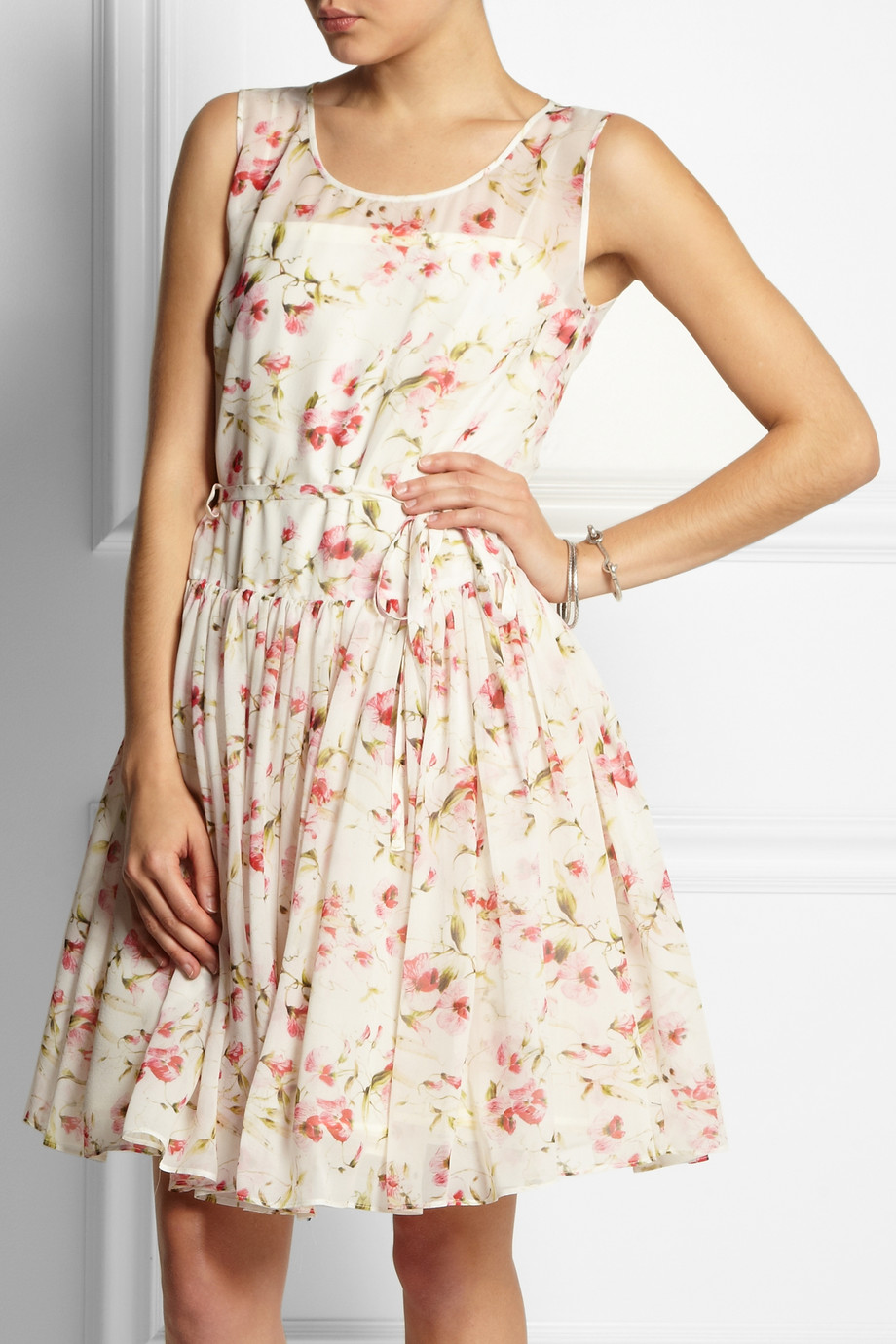 9cd4df26bc3 RED Valentino Floral Print Silk Chiffon Dress in White - Lyst