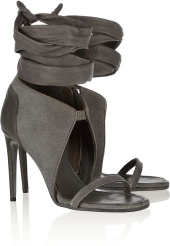 Rick Owens Suede and Leather Sandals - Lyst