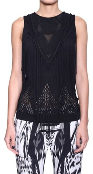 Roberto Cavalli Jersey Top with Fringes - Lyst