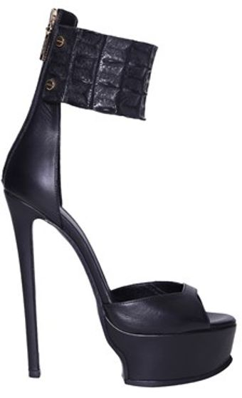 Roberto Cavalli Leather and Coconut Sandals with Platform - Lyst