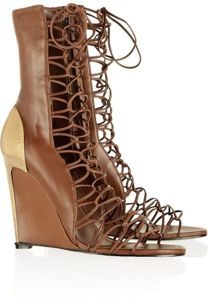 Sergio Rossi Lace Up Leather Gladiator Sandals In Brown