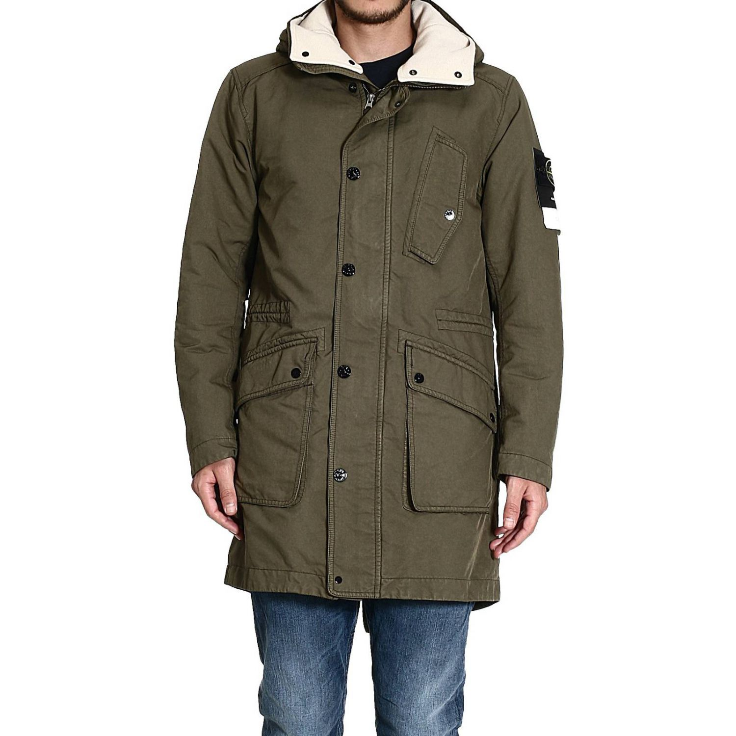 stone island down jacket parka long garnment dyed with. Black Bedroom Furniture Sets. Home Design Ideas
