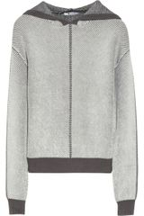T By Alexander Wang Hooded Ribbed Cottonblend Sweater - Lyst